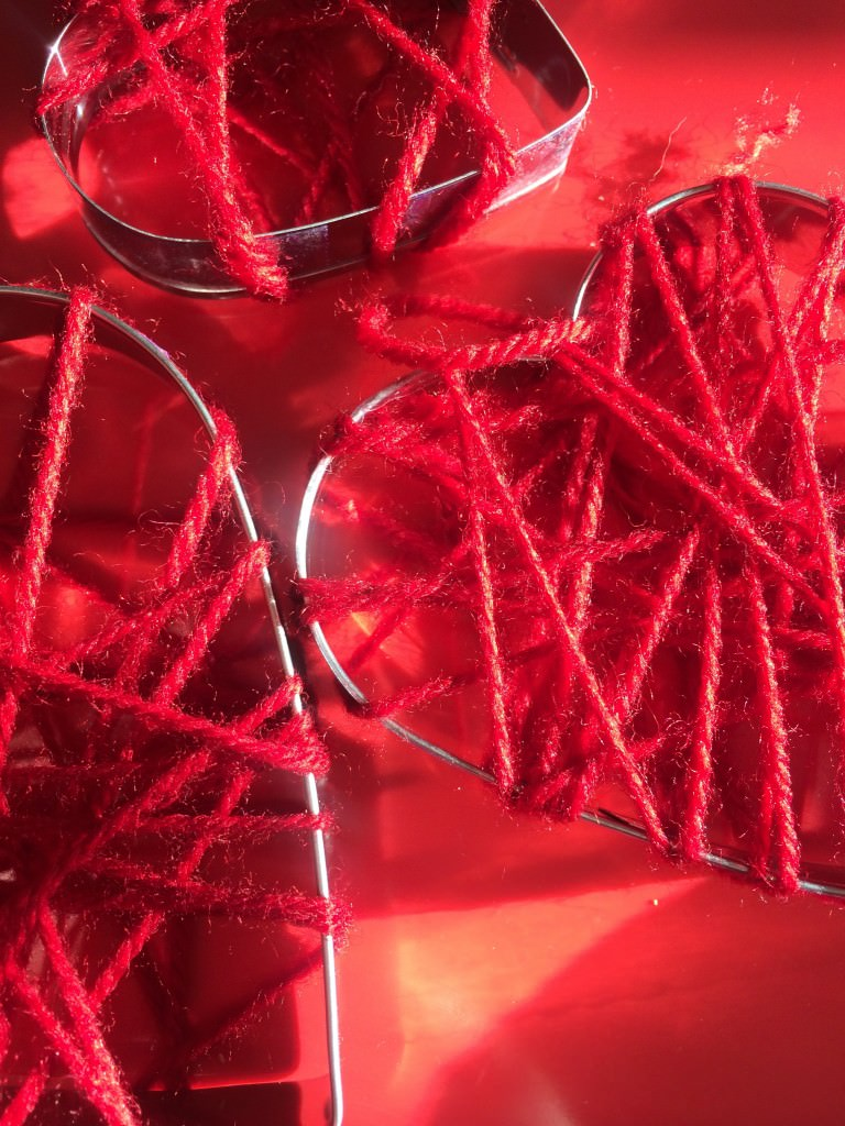 wool wrapped cookie cutter hearts