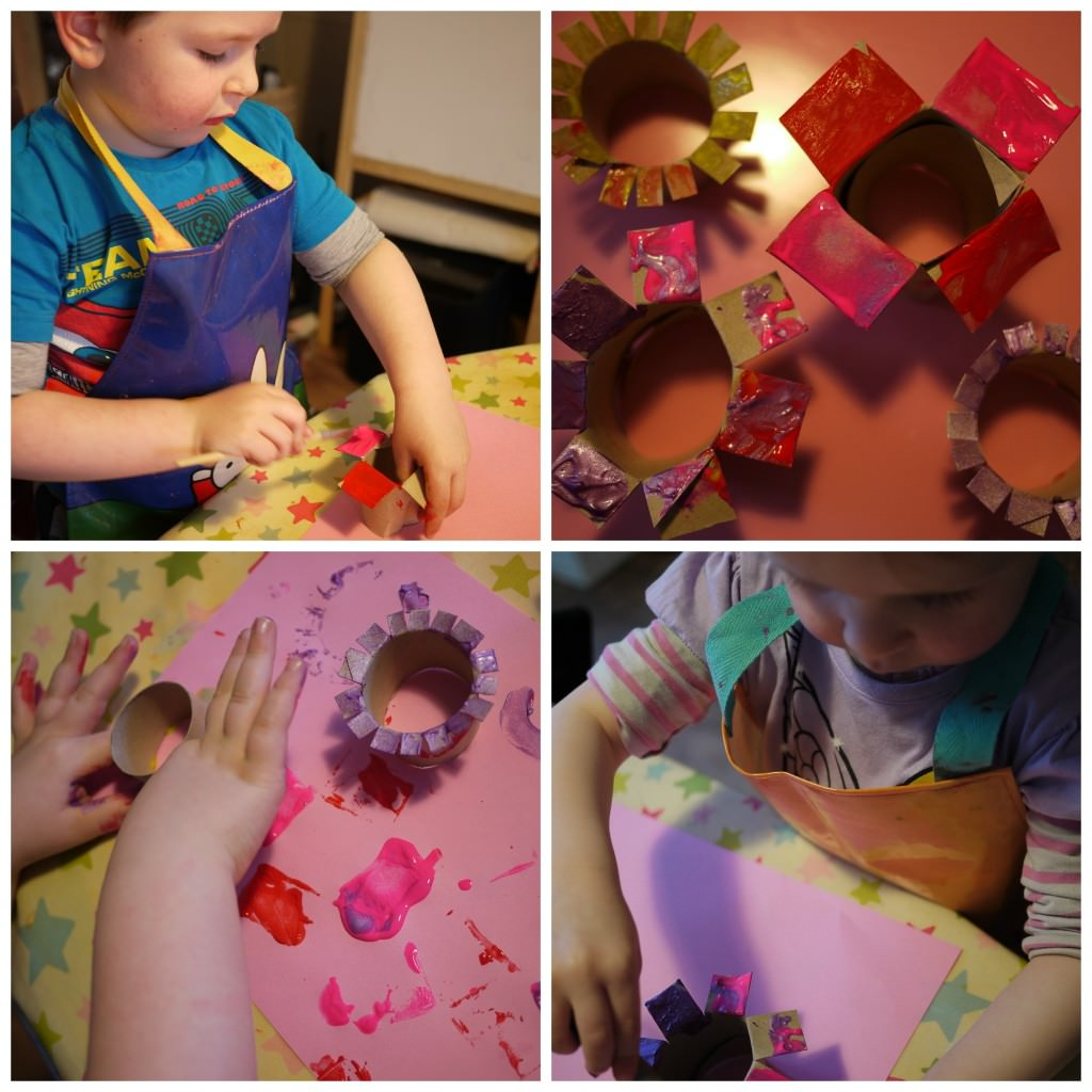 painting with cardboard flowers