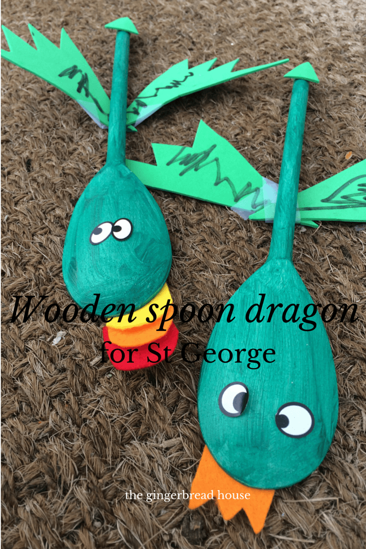 wooden spoon dragon craft for St George's Day
