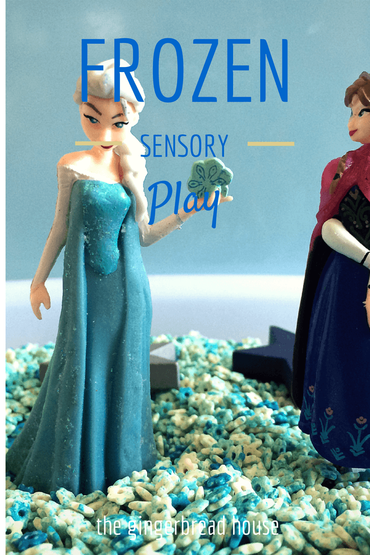 Frozen sensory play - the gingerbread house