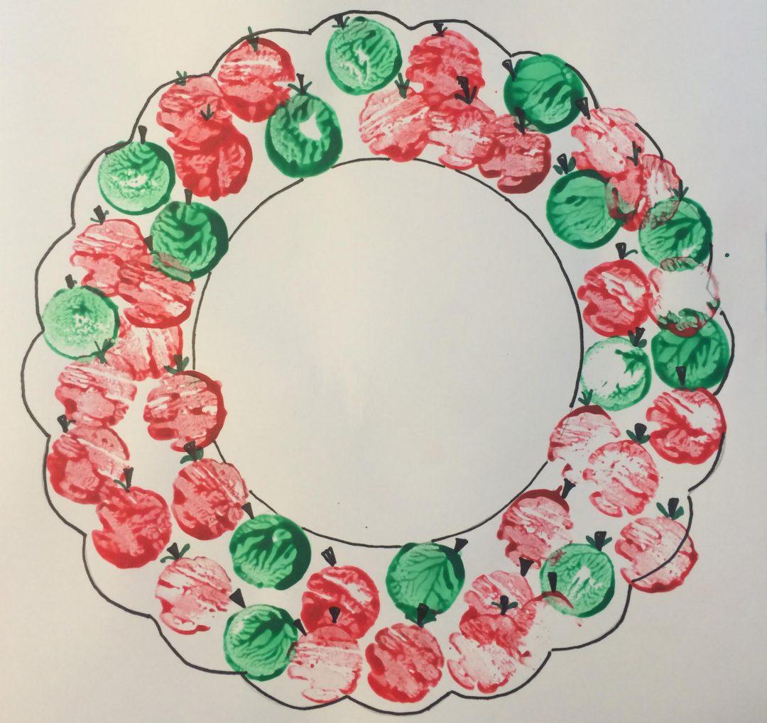 Apple Day craft - cork print apple wreath