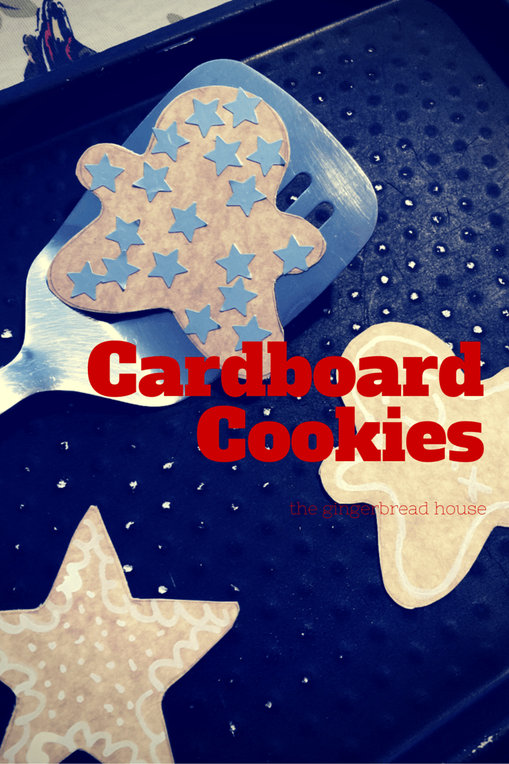 easy Cardboard Cookies for kids - the gingerbread house
