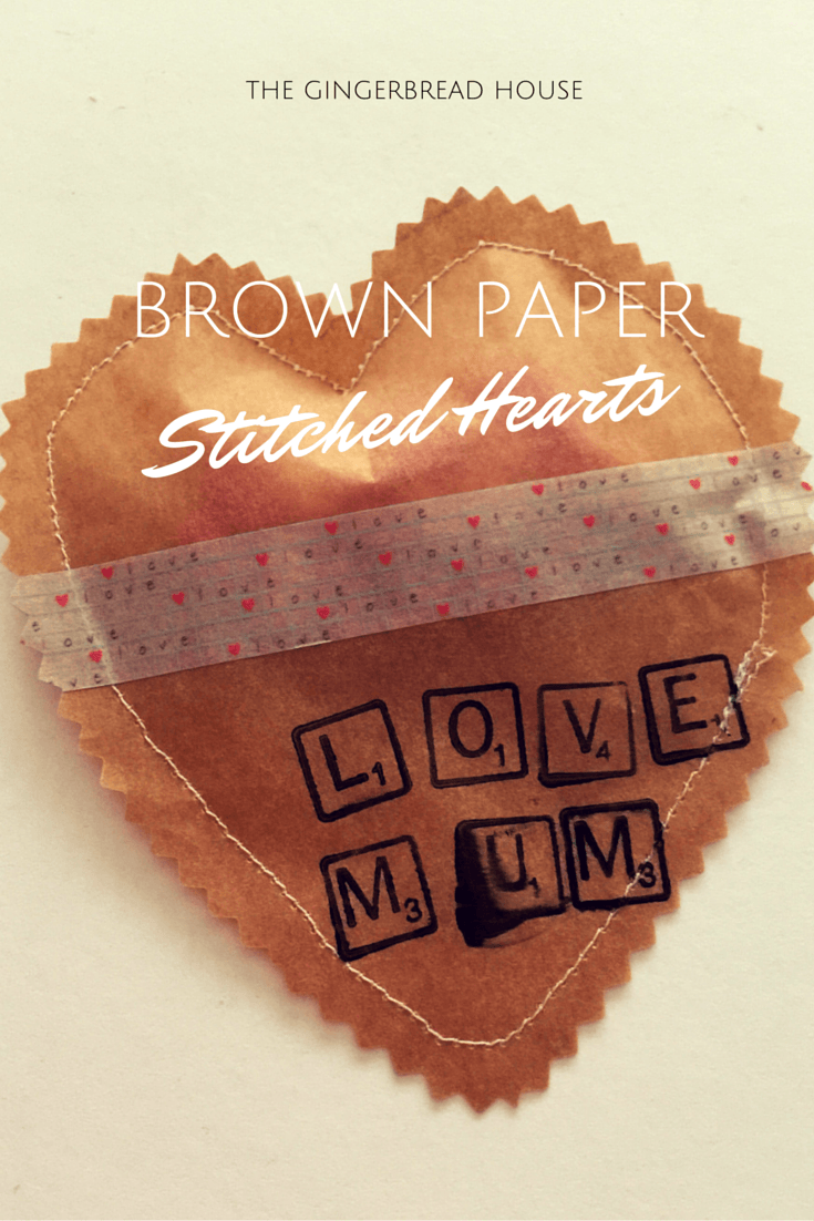 brown paper stitched heart - the gingerbread house