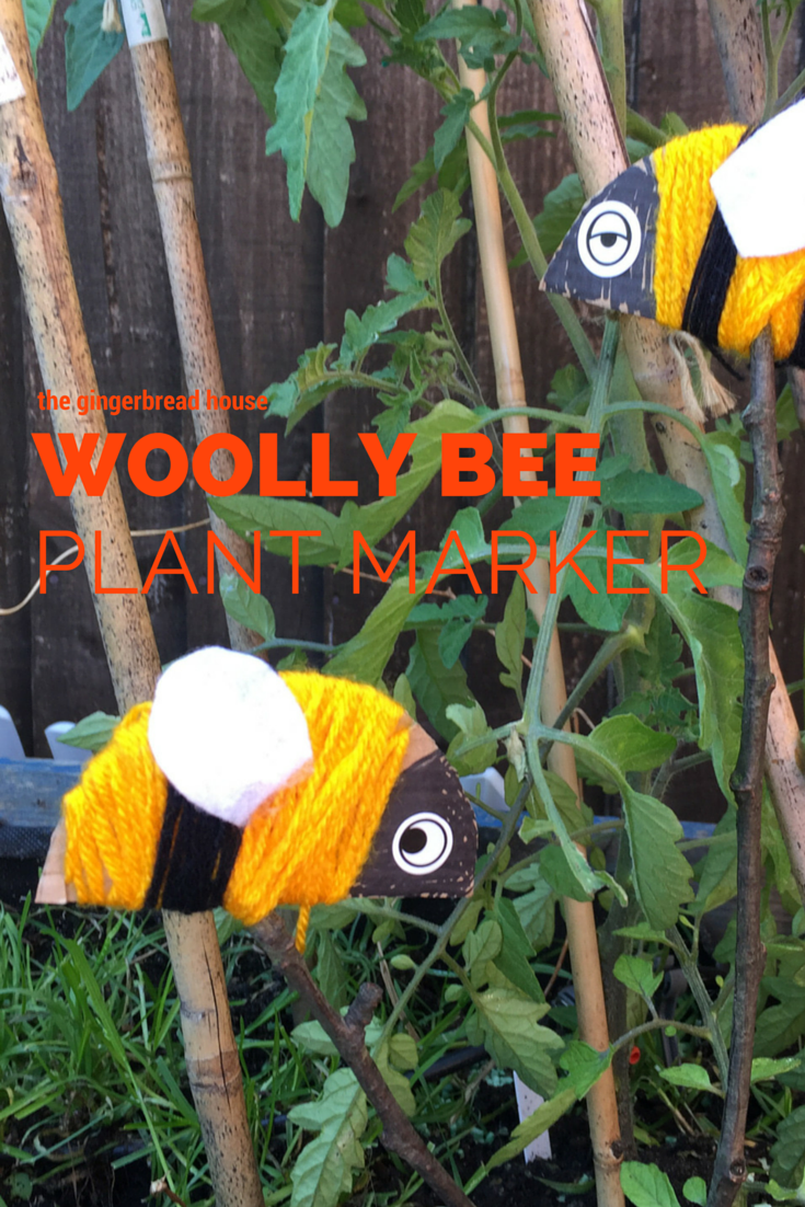Woolly bee plant marker - the gingerbread house