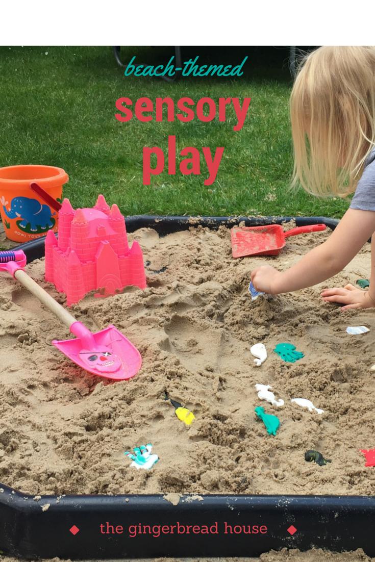 beach-themed sensory play