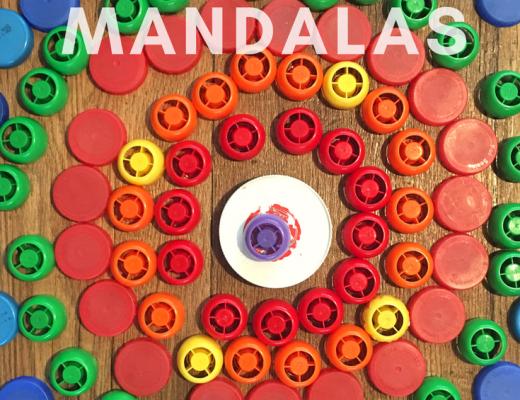 Easy bottle top mandalas for kids