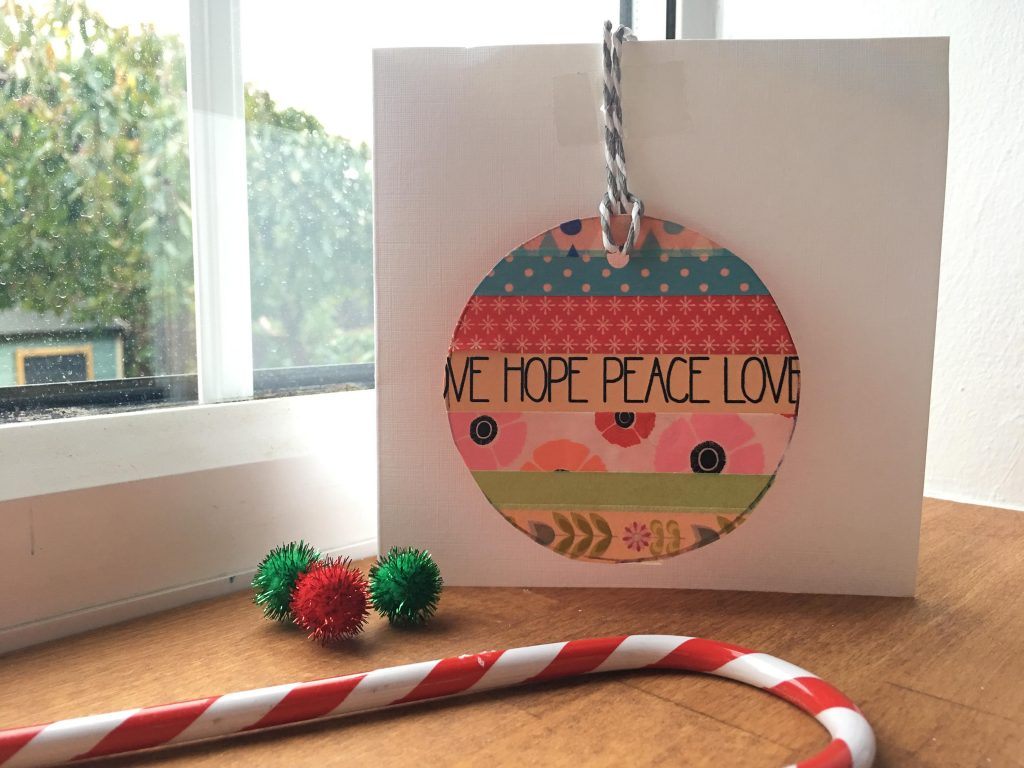washi tape baubles Christmas cards by kids