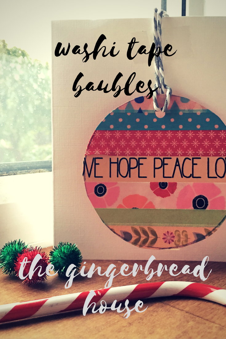 Easy washi tape baubles {kid-made Christmas cards}