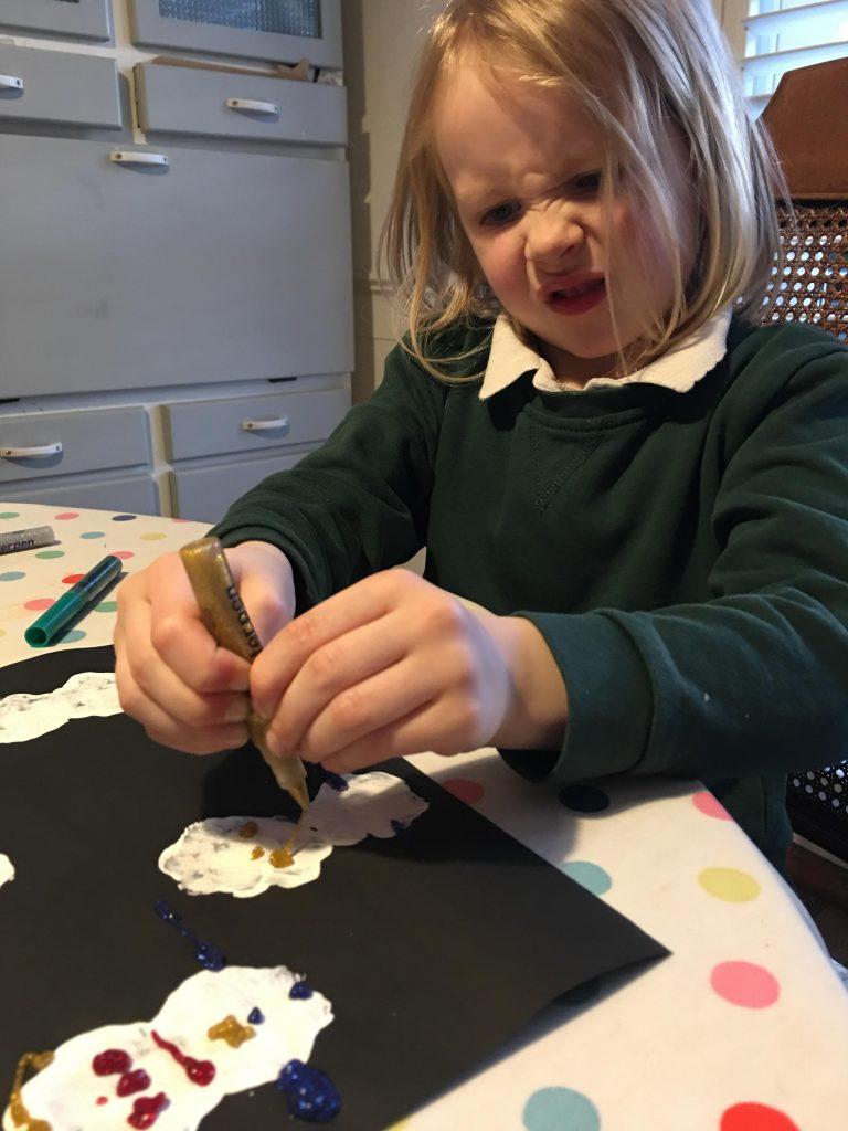 Potato print snowmen for kids