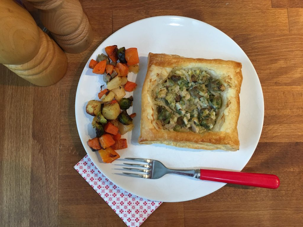 pastry squares with chestnut, turkey and kalettes