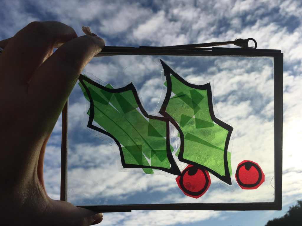 Holly and berries winter sun catcher