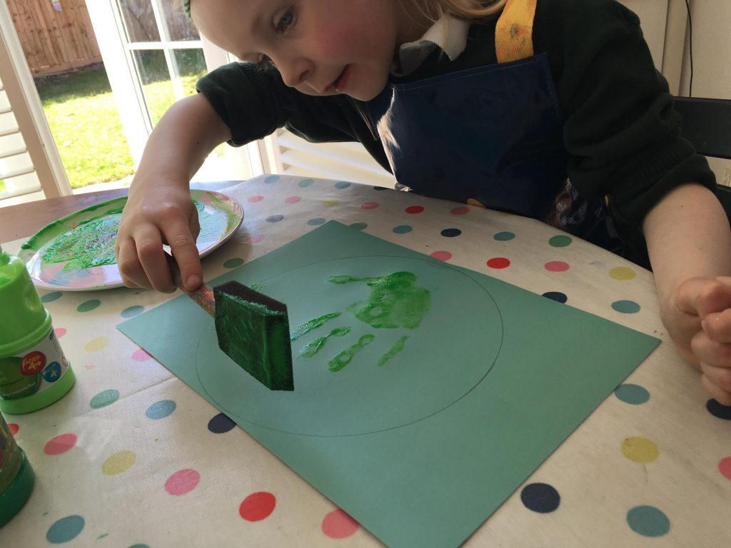 Easy Earth Day hand print craft tutorial