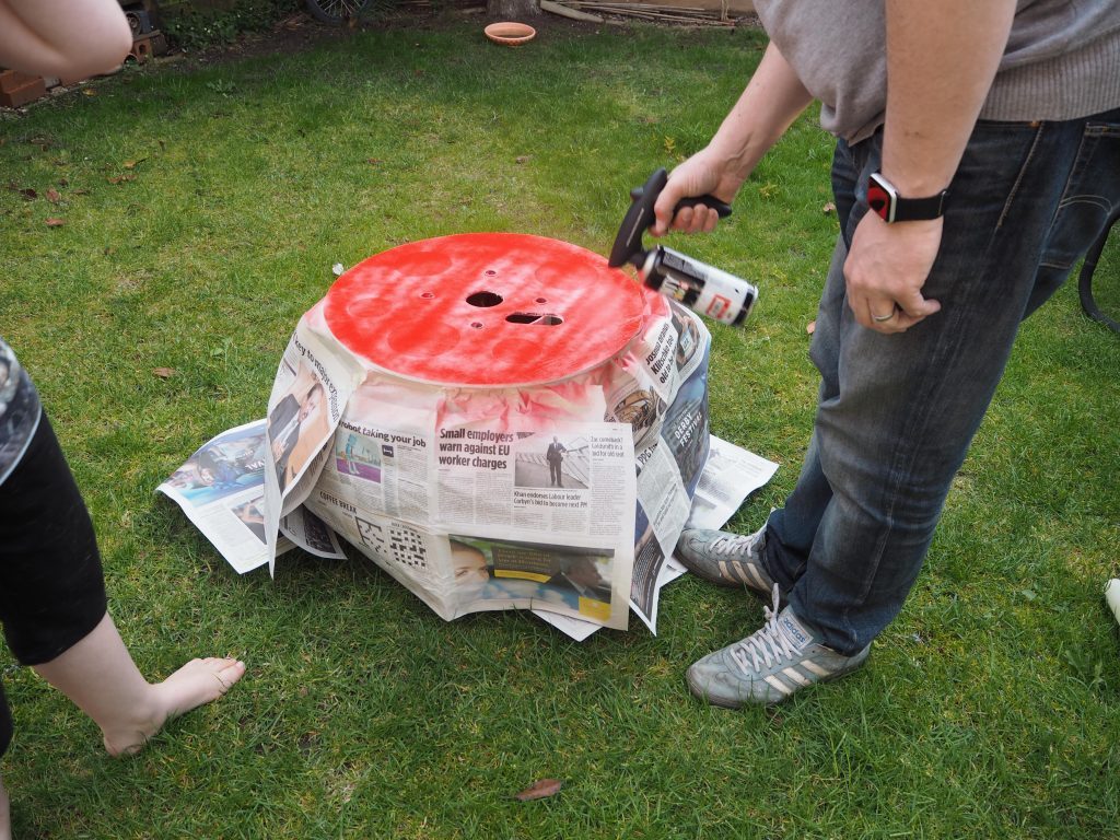 making a Cable reel fairy house using Pinty Plus spray paint