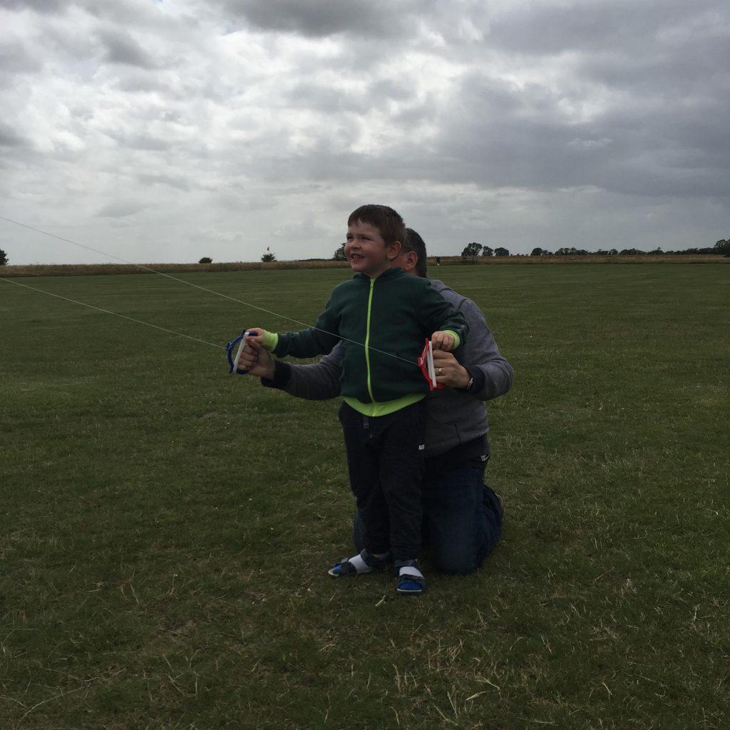 flying a kite at Westbury White Horse