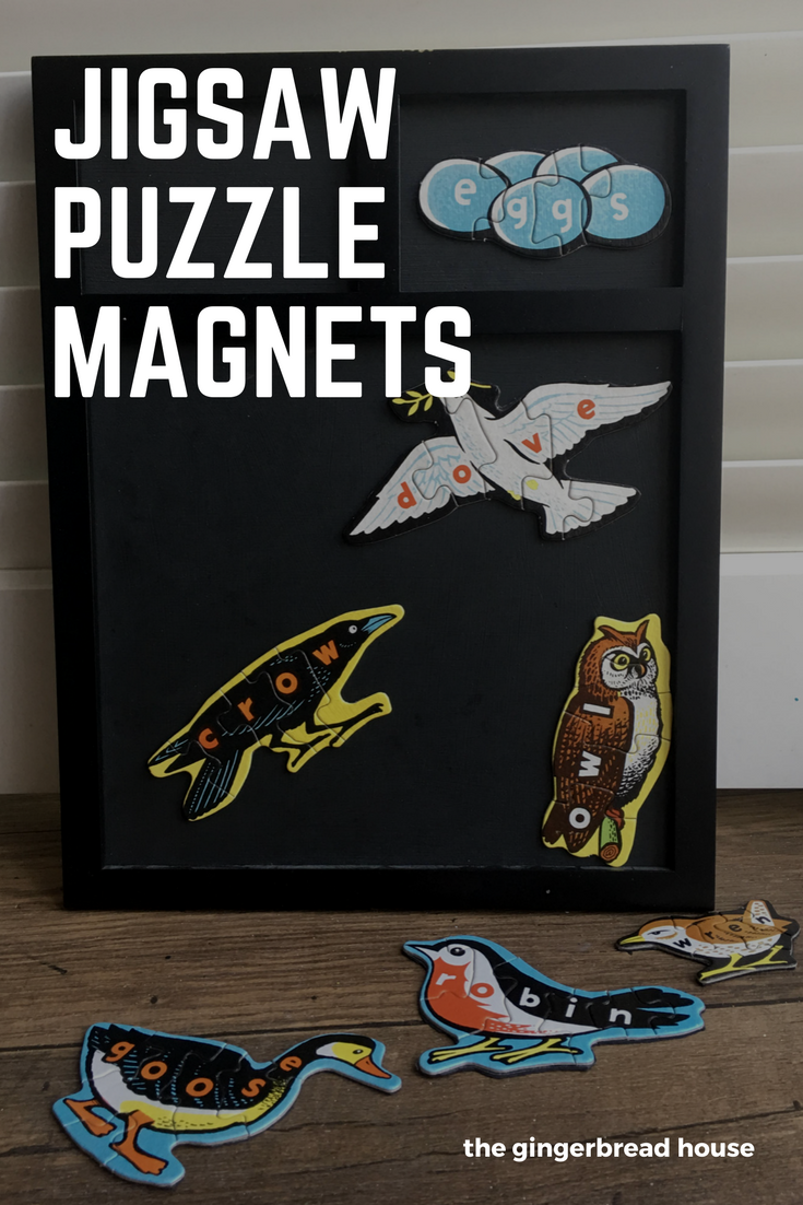 Upcycled jigsaw puzzle magnets