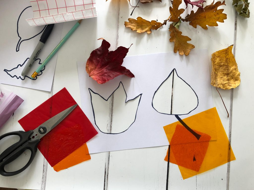 Autumn leaves sun catchers craft for kids