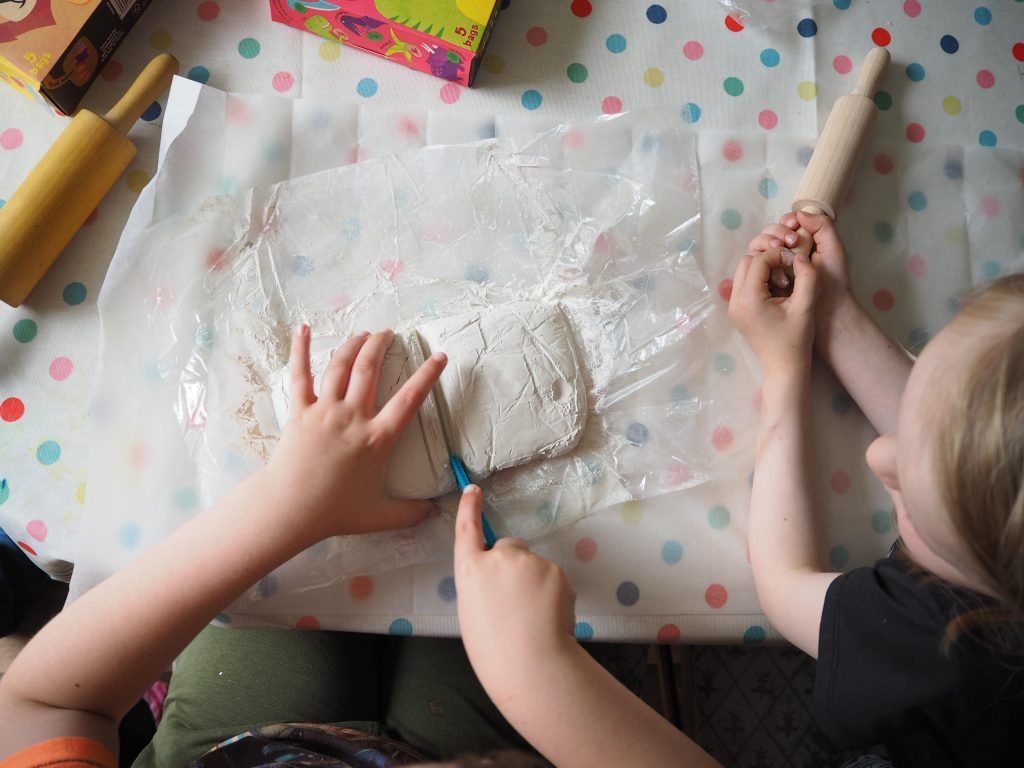 making fossils with air drying clay