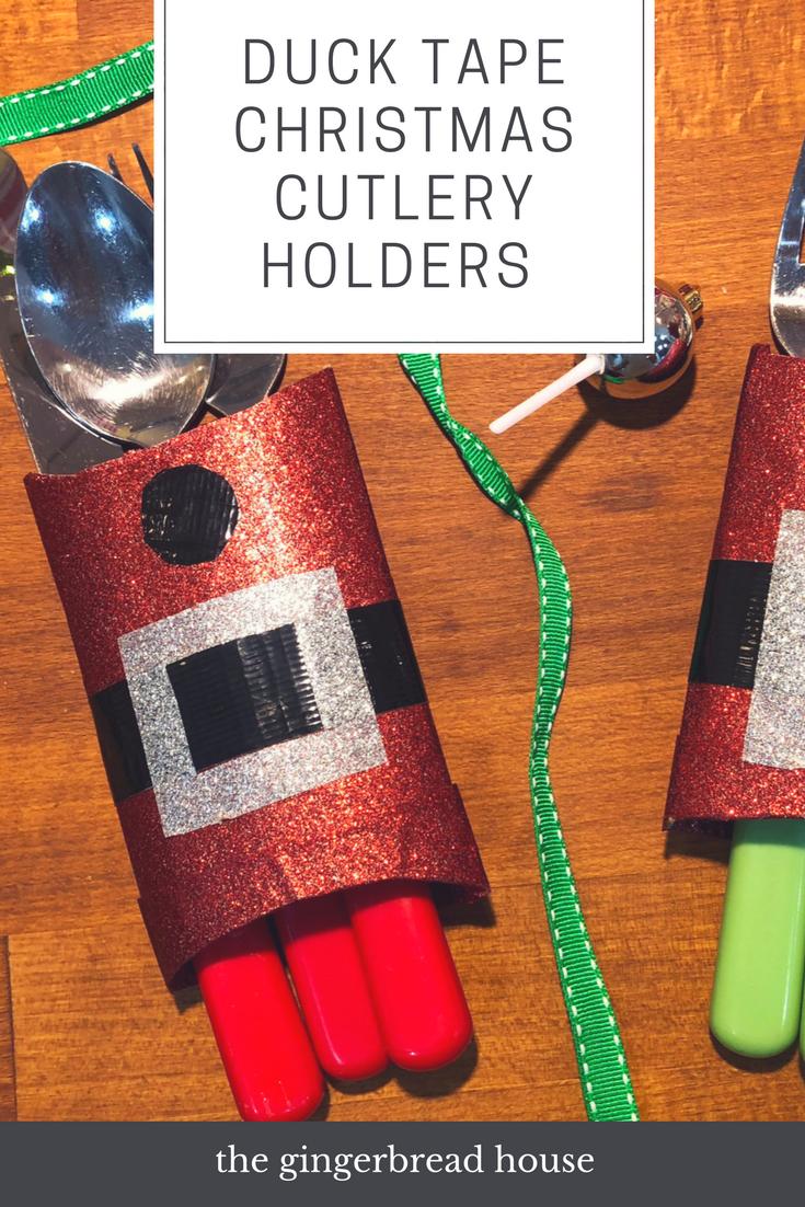 Easy Duck Tape Christmas Cutlery Holder