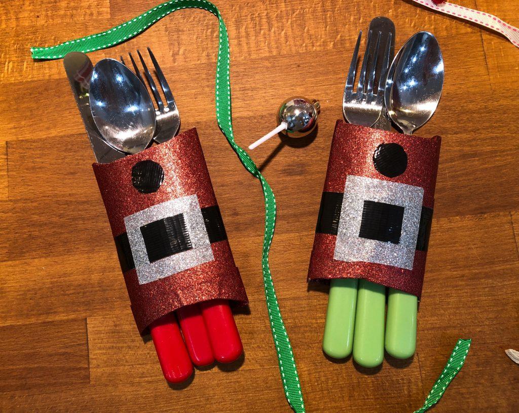 Duck Tape Christmas Cutlery Holder