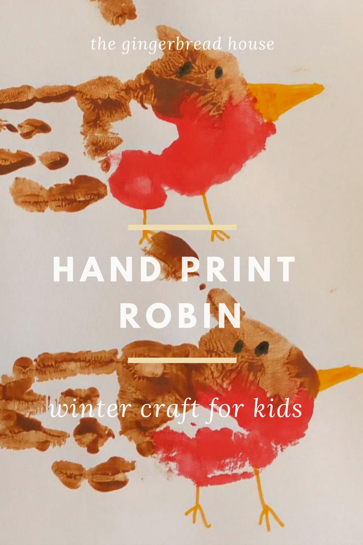 Handprint robin for winter