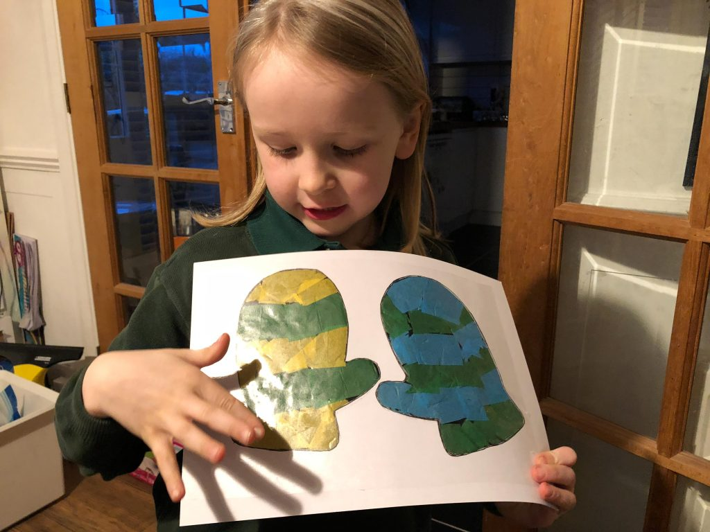 sun catcher mittens craft for kids