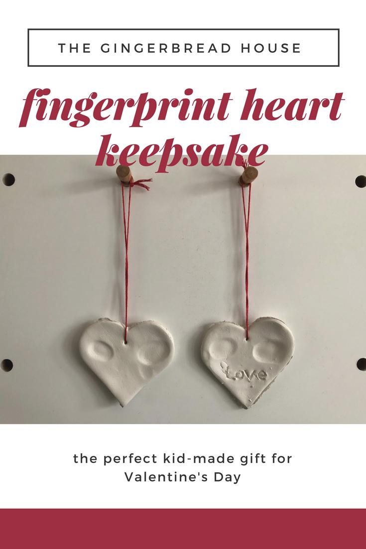 kid-made Fingerprint heart keepsake