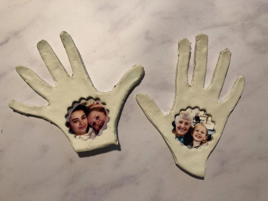 Valentine's hand print photo frame craft