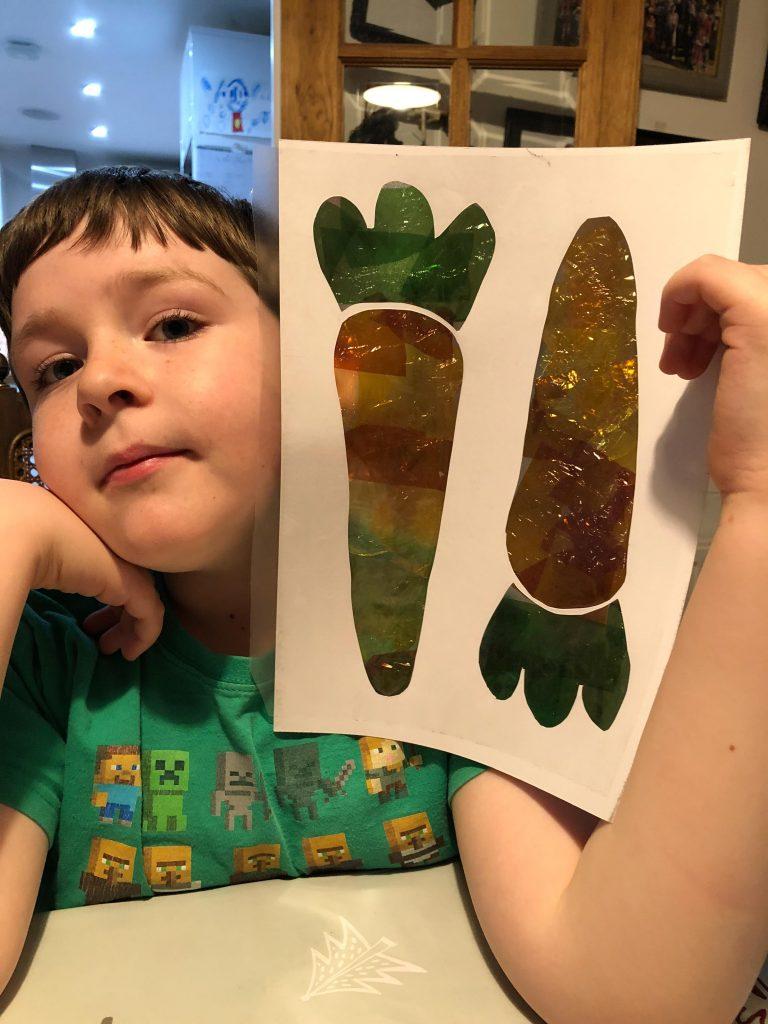 Peter Rabbit inspired carrot sun catchers