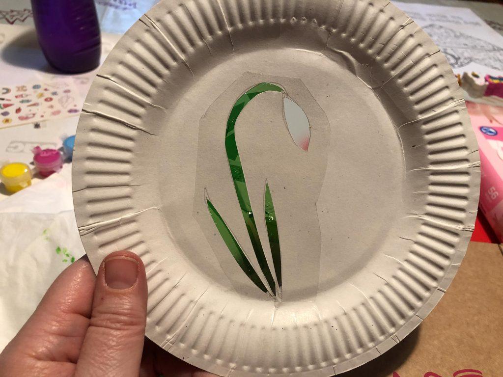 paper plate snowdrop sun catcher