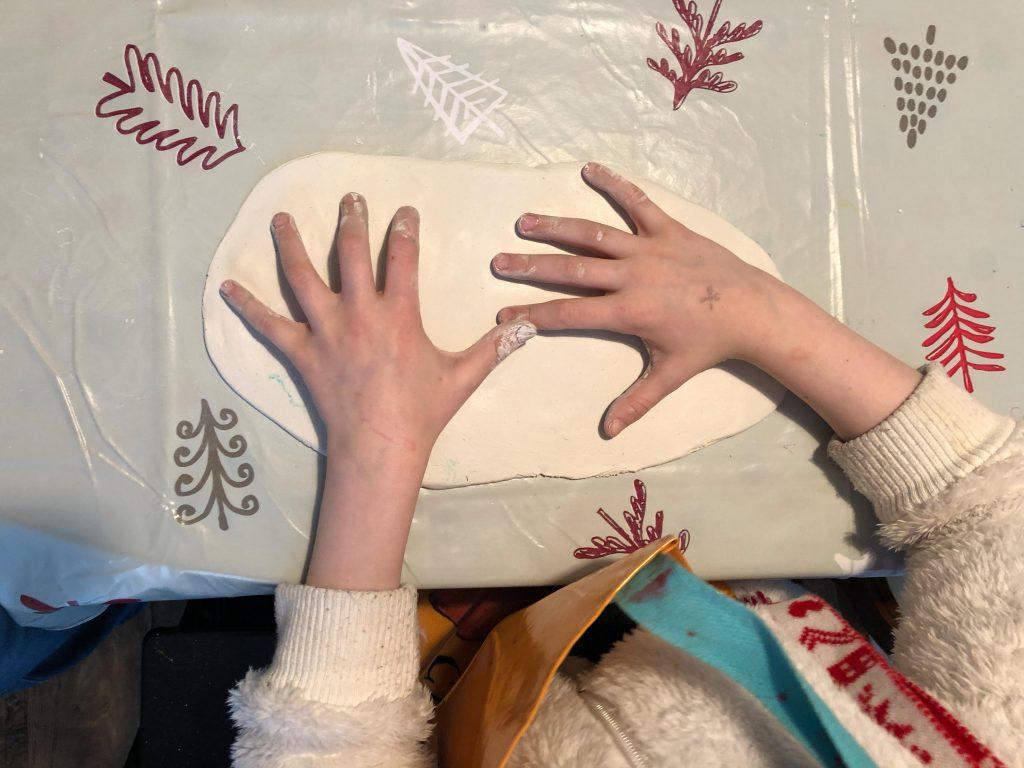 Valentine's clay handprint keepsake