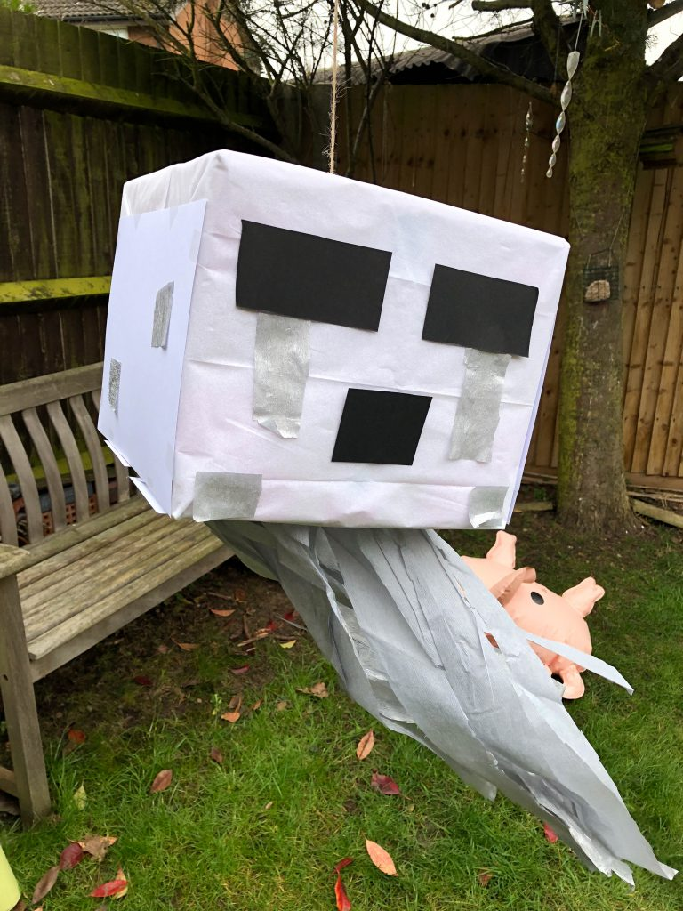 diy ghast pinata for a minecraft party