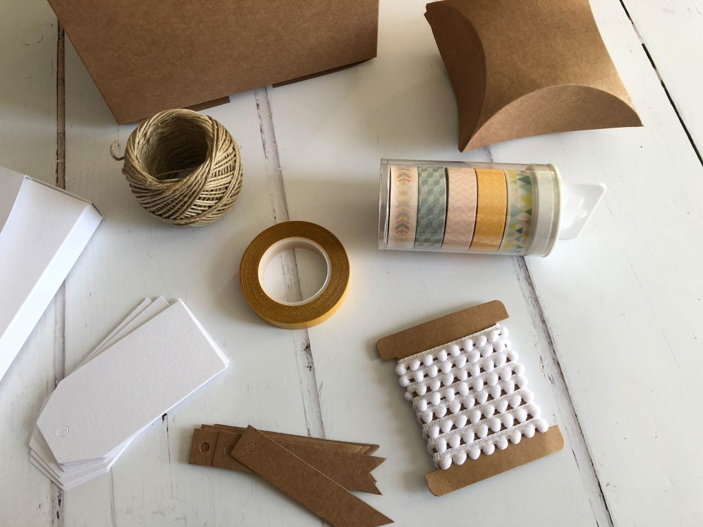 cardboard boxes and washi tape