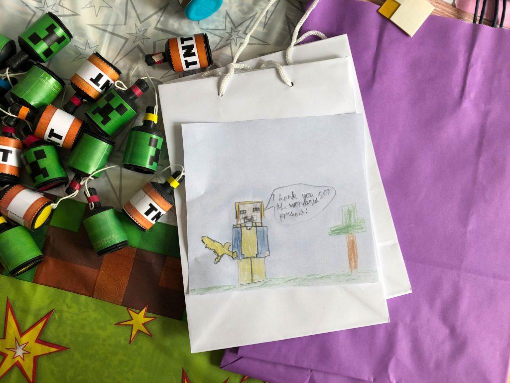 Minecraft thank you card