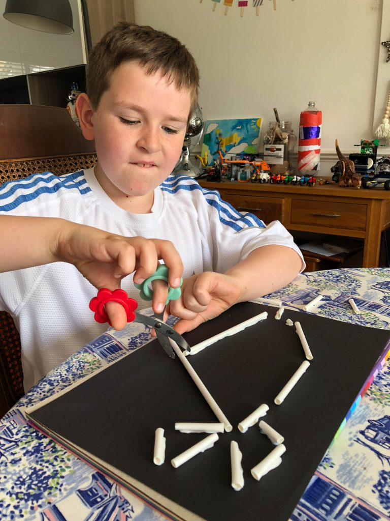 crafting a dinosaur skeleton