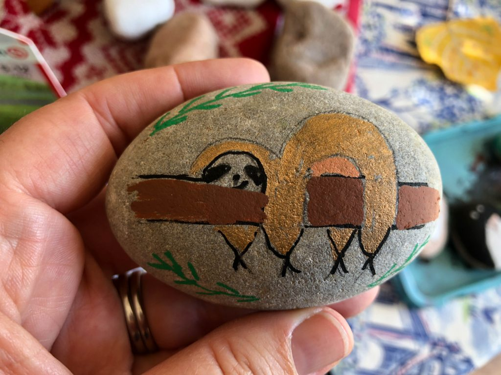 sloth painted rock