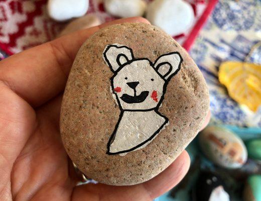 polar bear painted rock