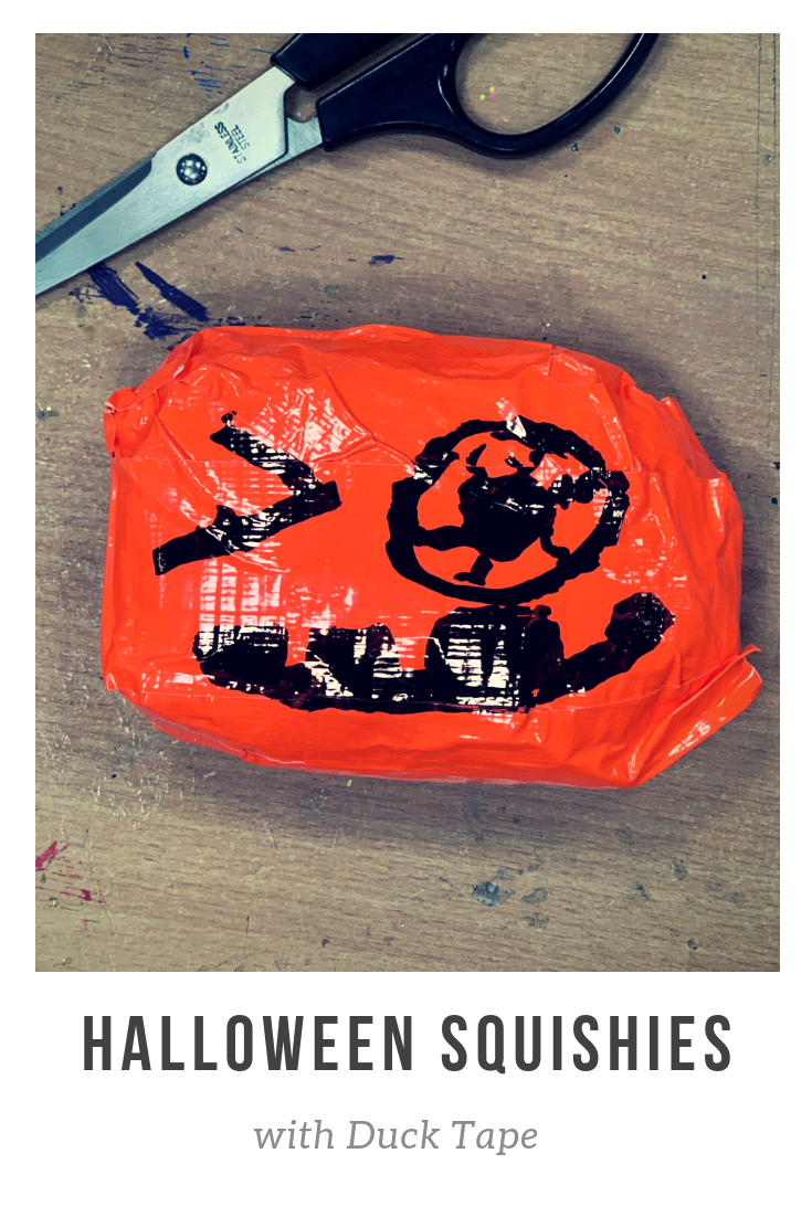 Making Halloween squishies with Duck Tape