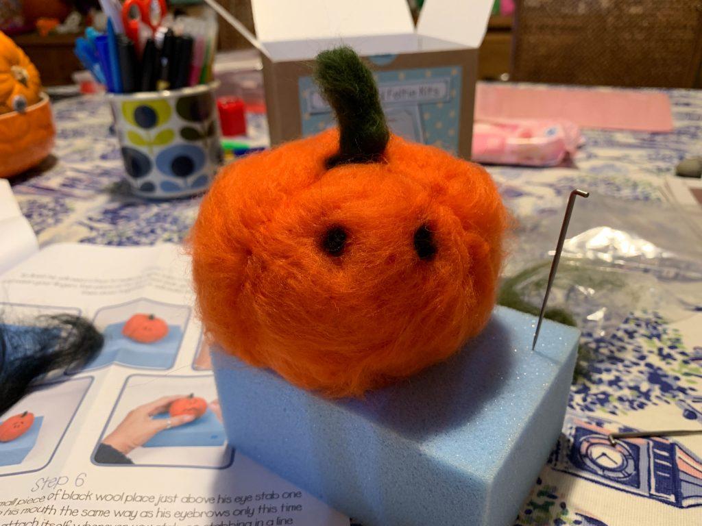 needle felt pumpkin