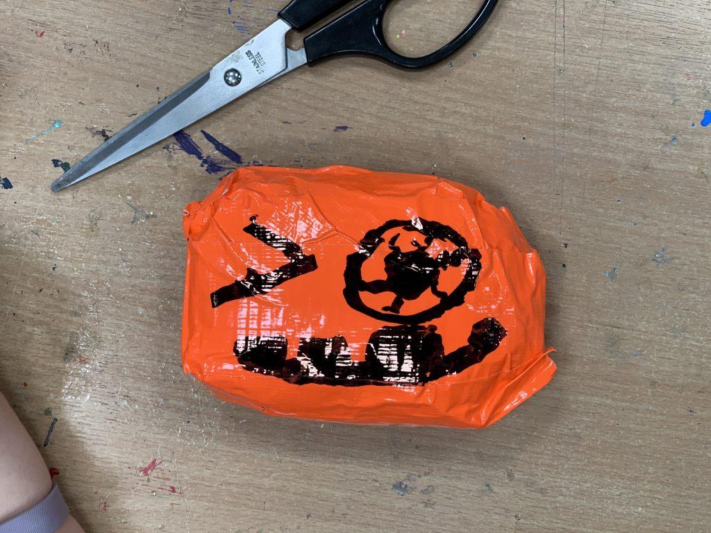 Duck Tape pumpkin squishie
