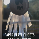 Paper plate ghosts for Halloween