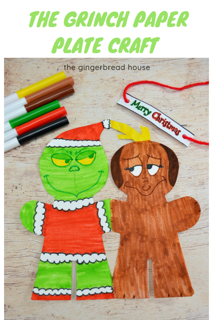 Dr Seuss's The Grinch and Max paper plate craft for kids from the gingerbread house blog