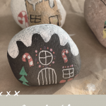 Gingerbread house painted rocks