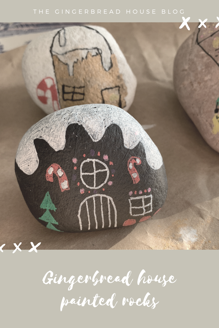 Gingerbread house painted rocks tutorial