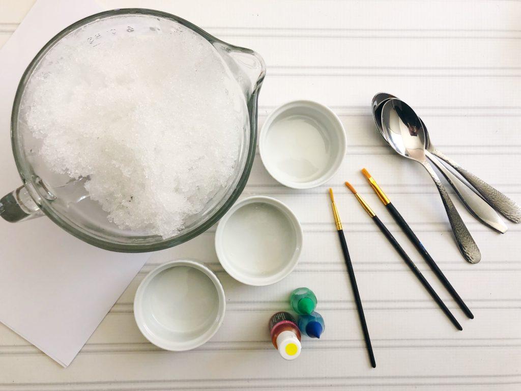 watercolour snow paint activity for kids