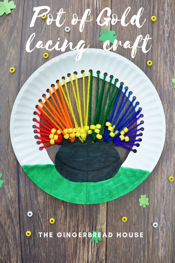 St Patrick's Day Pot of Gold paper plate lacing craft