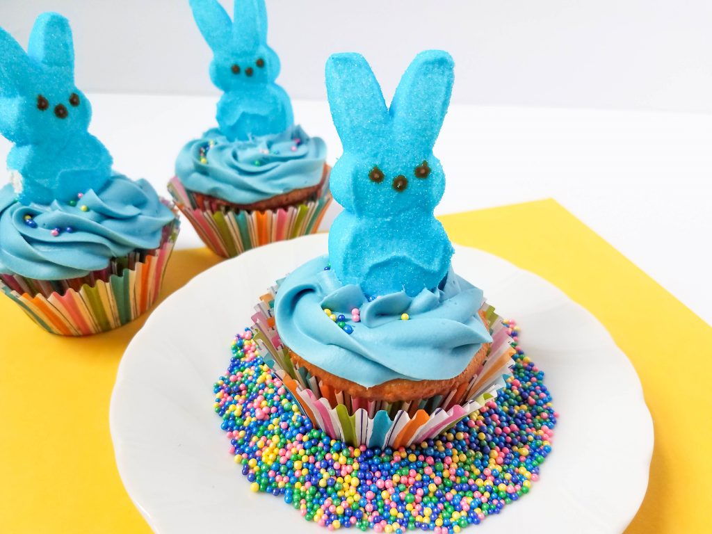 making peeps cupcakes for Easter