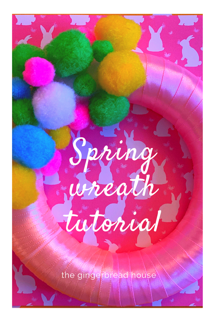 Pom pom Spring wreath tutorial