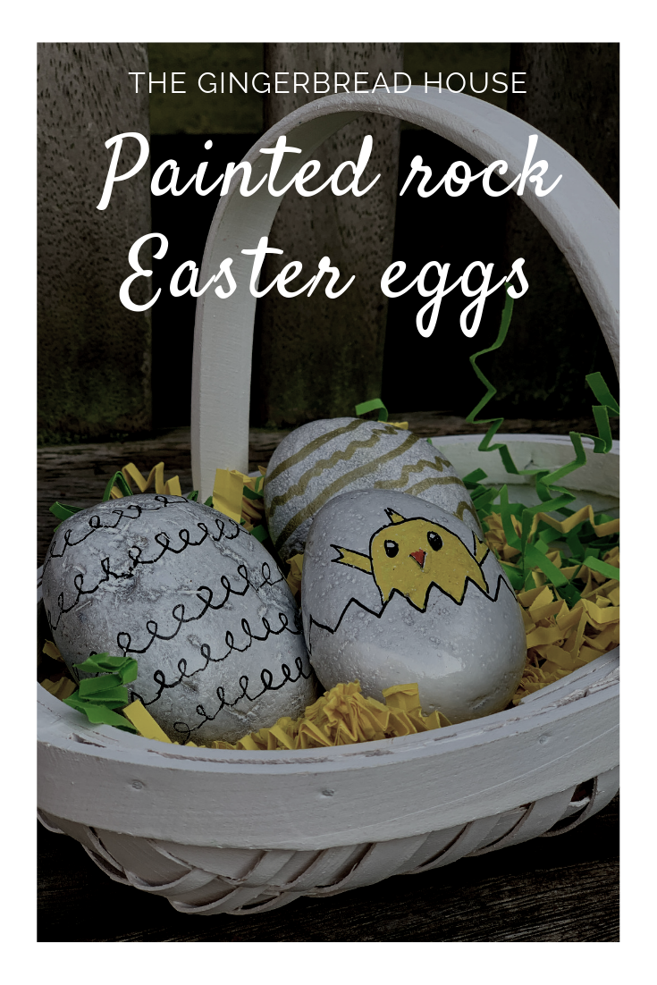 Painted rock Easter eggs from the gingerbread house blog