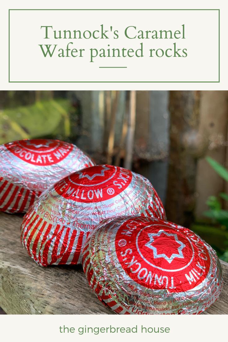 Super simple Tunnocks Caramel Wafer painted rocks