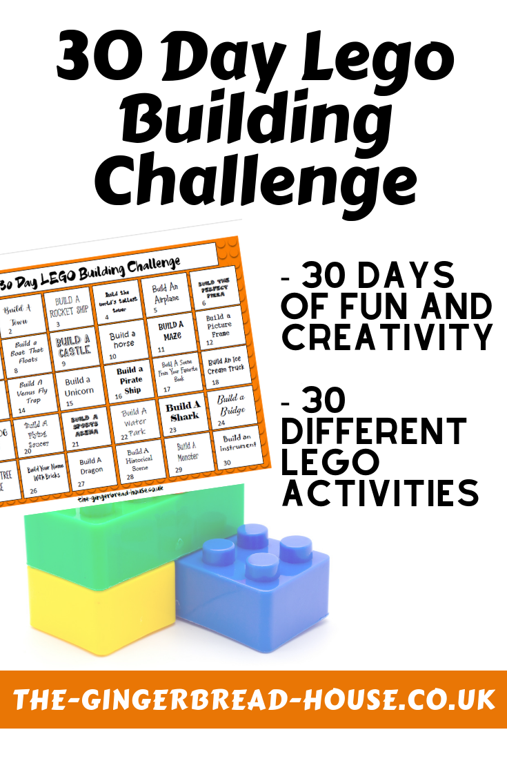 free 30 day Lego building challenge from the gingerbread house